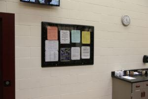 Bulletin board on the wall